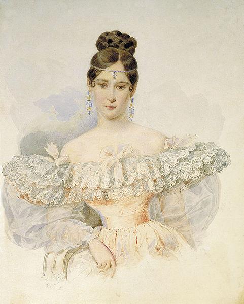 Портрет Н. Н. Пушкиной работы Александра Брюллова (1831—1832 гг.)
